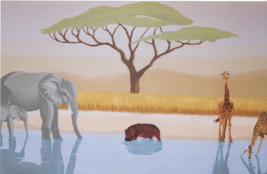 African Watering Hole Mural