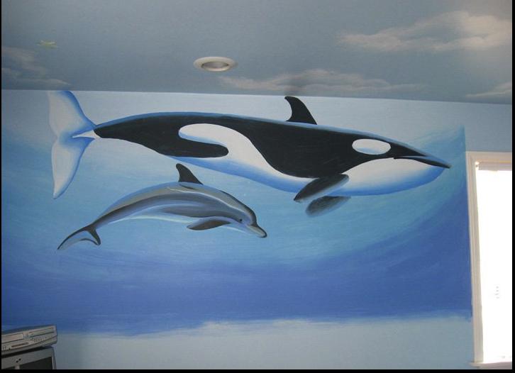 Allyson wong murals wall art studio animals theme murals for Dolphin wall mural