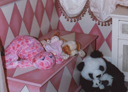 Wall Art by Allyson, Pink Harlequin, diamond wainscotting, decorative painting, faux chair rail, decorative girls room
