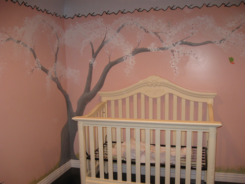 Painted wall murals for kids for Cherry blossom tree mural