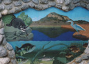 Wall Art by Allyson, Wall Art by Allyson, Malibu Lake under water scene,malibou lake, landscape mural, hand painted patio mural, patio mural, wall art, mural