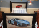 Wall Art by Allyson, sports car bed,custom boys bed,car bed,hand painted car bed,race car bed, kids furniture