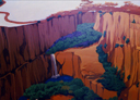Wall Art by Allyson, Canyon landscape, landscape mural, hand painted mural, mural, wall art